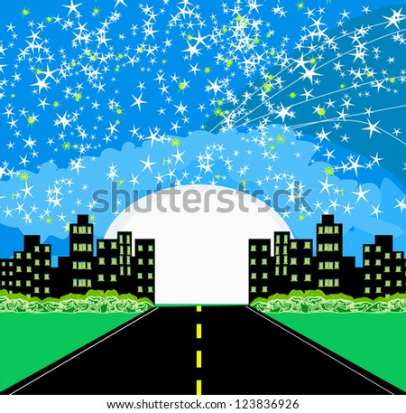 Highway to city with large moon - stock vector