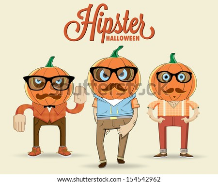Hipster halloween characters. Vector illustration - stock vector