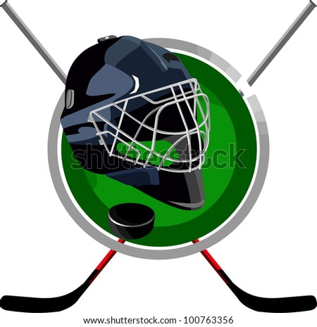 hockey puck is a round helmet in the form of sticks - stock vector