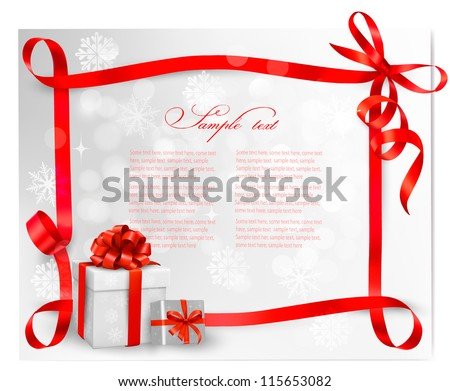 Holiday background with red gift bow with gift boxes. Vector illustration. - stock vector