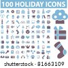 100 holidays icons, signs, vector illustrations - stock vector