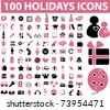 100 holidays icons, vector - stock vector