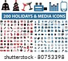 200 holidays & media icons, vector - stock vector