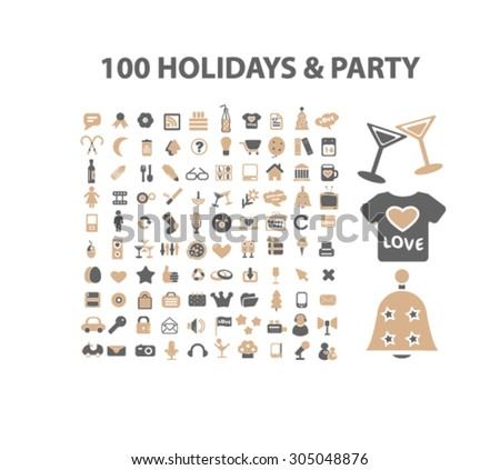 100 holidays, party, event icons set, vector - stock vector