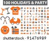 100 holidays & party icons set, signs, vector illustration - stock vector