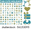 100 holidays & party signs. vector - stock vector