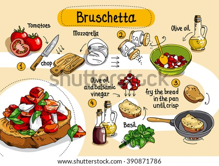 Home Cooking Recipe.  cooking recipe bruschetta, step by step instructions, ingredients. - stock vector