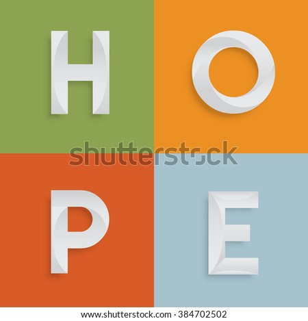 'HOPE' four-letter-word for websites, illustration, vector - stock vector