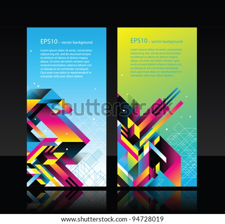 2 horisontal web banners with modern abstract elements - stock vector
