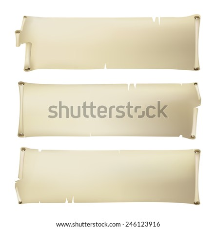3 horizontal old paper banners - stock vector