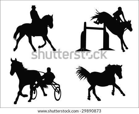horse and rider silhouettes - stock vector