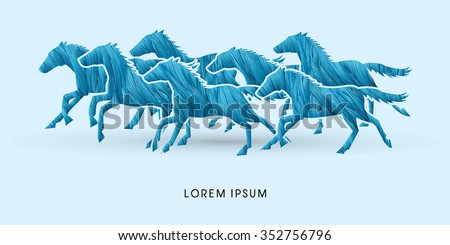 7 horses running, designed using blue grunge brush graphic vector.