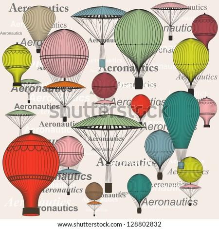 hot air balloon, seamless - stock vector