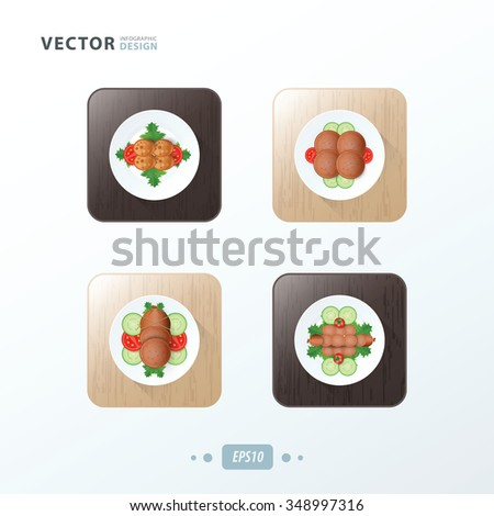 Hot dog And Salad Icons design food on wood - stock vector