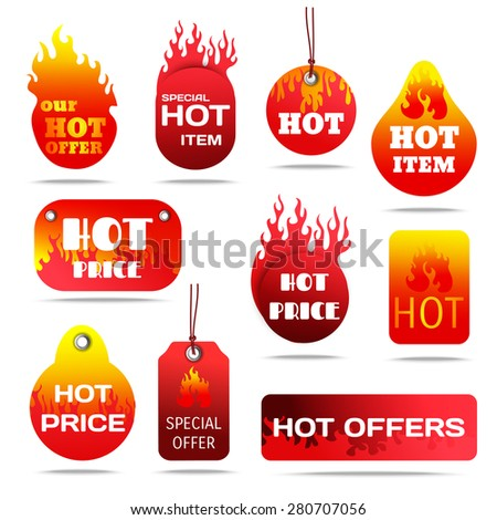 Hot sale and special offers with fire design labels set flat shadow isolated vector illustration  - stock vector