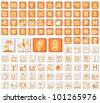 50 hotel and tourism icons in two colors - stock vector