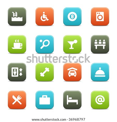 16 hotel related icons (set 2 of 2) for your website of software. The vector file includes four color versions of each icon. - stock vector