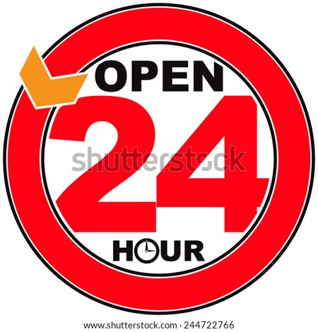 24 Hour Open Sign Vector - stock vector