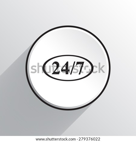 24 hours a day and 7 days a week vector icon  - stock vector