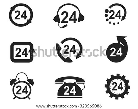 24 Hours Icons set - stock vector