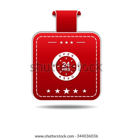 24 Hours Open Red Vector Icon Design