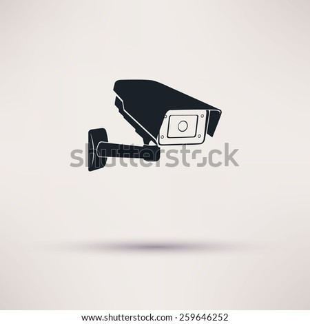 24 hours security surveillance camera or CCTV icon - stock vector