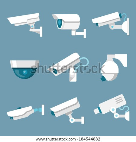 24 hours security surveillance camera or CCTV icons set white on color background isolated vector illustration - stock vector