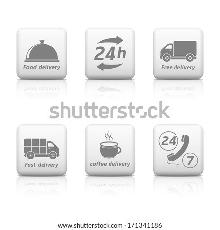 24 hours Service buttons. Delivery icons - stock vector