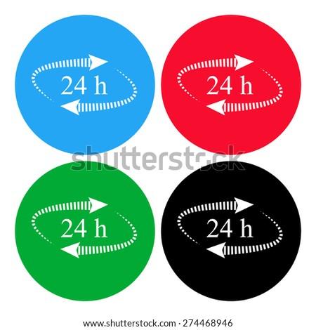 24 hours. vector icon, flat design  - stock vector