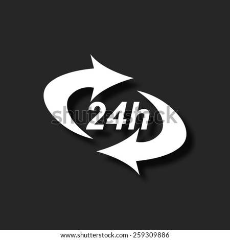 24 hours  - vector icon with shadow - stock vector