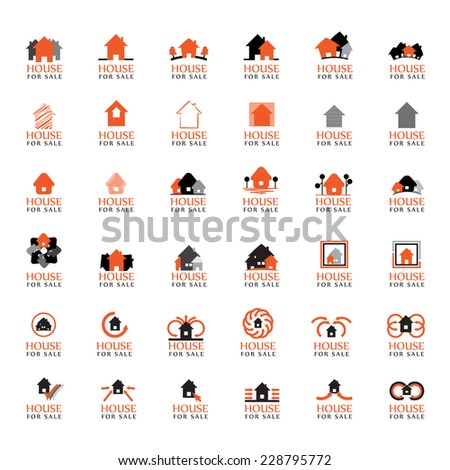 'House For Sale' Icons Set - Isolated On White Background - Vector Illustration, Graphic Design Editable For Your Design - stock vector
