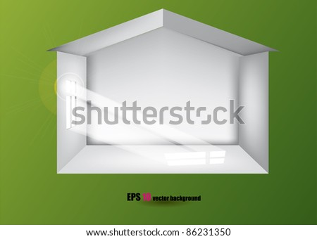 House inside the green wall. - stock vector