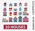 20 houses, buildings icons, signs, vector set - stock vector