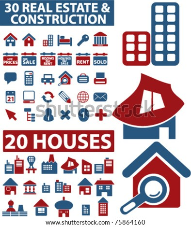 50 houses, real estate concept, construction icons, signs, vector