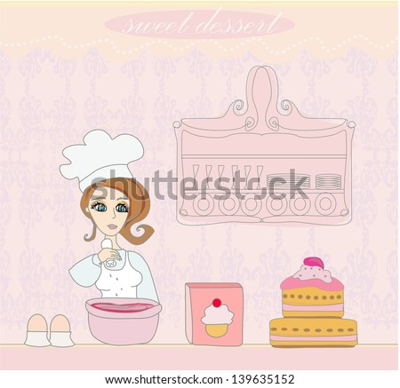 Housewife baked a delicious cake - stock vector