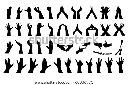 41 human hands silhouettes, elements for your design - stock vector