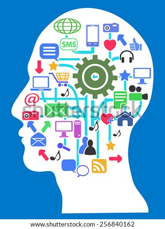 human head with media network icons - stock vector