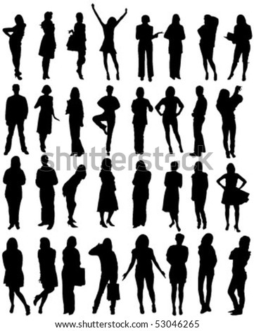 32 human shape silhouettes - vector - stock vector