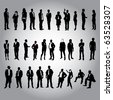 30 human silhouettes - stock photo