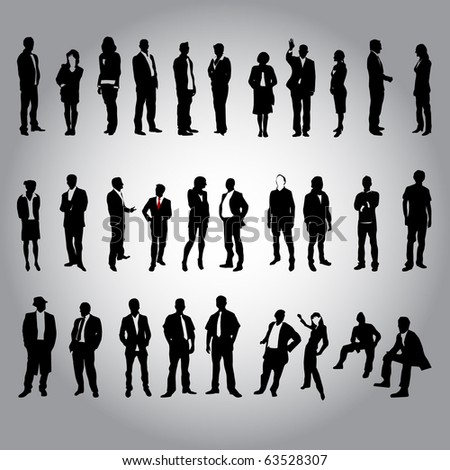 30 human silhouettes - stock vector