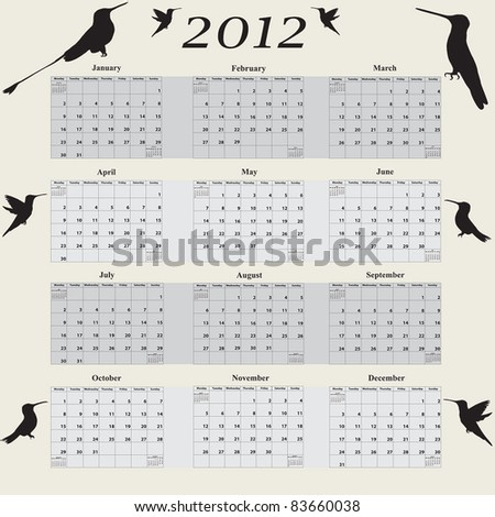 2012 Hummingbird Calendar with week starting on Monday - stock vector