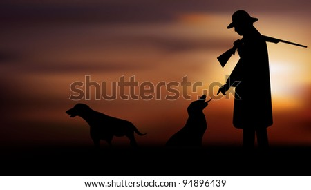 Hunter with dogs early in the morning - stock vector