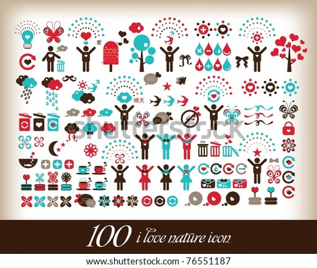 100 i love world icon - stock vector