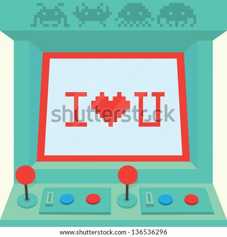 """I love you"" arcade machine isolated vector - stock vector"