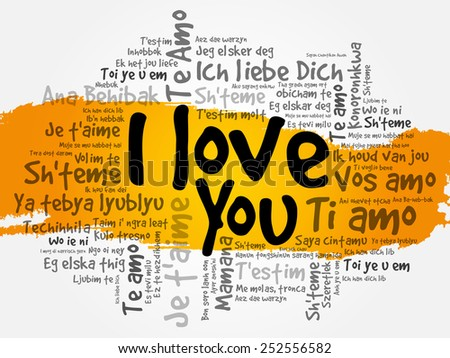 """I love you"" in all languages of the world, words cloud concept - stock vector"