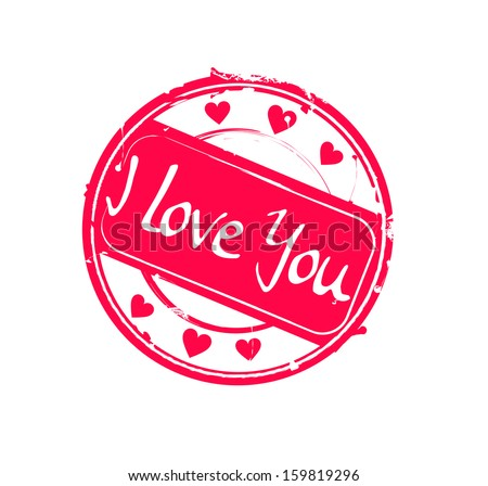 """""""I love you"""" retro pink round rubber stamp vector - stock vector"""
