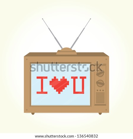 """I love you"" retro television isolated vector - stock vector"
