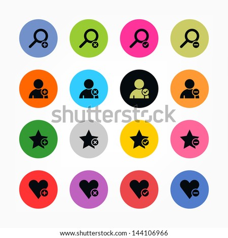 16 icon loupe, user profile, star favorite, heart bookmark icon with plus, delete, check mark and minus sign. Black on color. Set 07. Circle internet button on background. Vector illustration 8 eps - stock vector