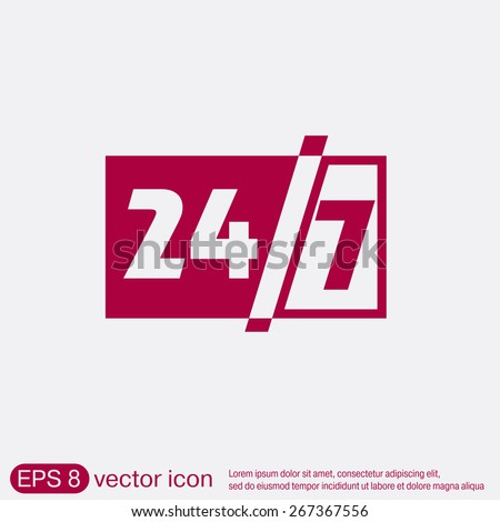 24 7 icon. open 24 hours a day and 7 days a week icons - stock vector