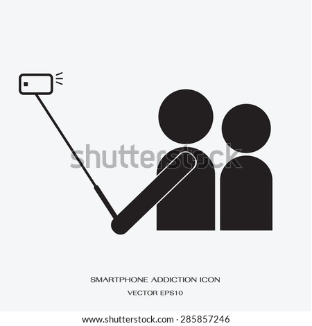 icon people using smartphone take a self photo by selfie stick  - stock vector